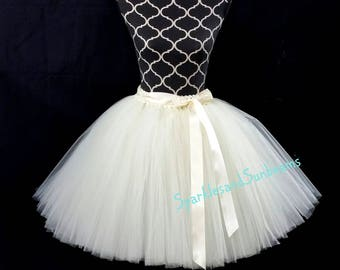 Ivory children to adult Tutu/ Tulle costumes/ Adult tutu (FULLY LINED/ 33 colors available)