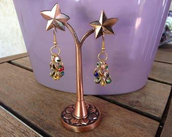 Multicolor cluster earrings
