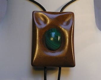 """tie """"bolo tie"""" wood and stone"""