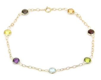 14k Yellow Gold Gemstone Anklet Bracelet With Corrugated Link Chain 9- 11 Inches