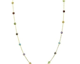 14K Yellow Gold Handmade Station Necklace With 4 MM Gemstones By The Yard (16, 17, 18, and 20 Inches)