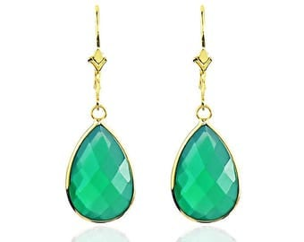 14K Yellow Gold Handmade Earrings With Dangling Pear Shape Green Onyx