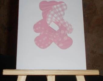 Birth - Teddy bear card pink iris folding