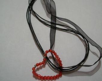 Cord handmade red heart pendant