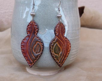"""Earrings """"fantasy"""" leather red and green gradient"""