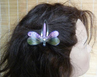 """Barrette """"Dragonfly"""" fairy green and purple leather"""