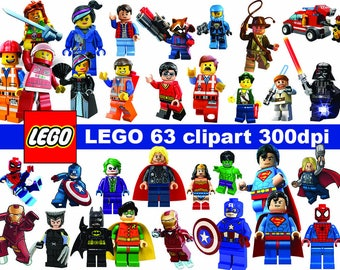 63 LEGO character  Clipart - printable PNG Digital Clipart Graphic Instant Download