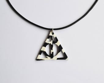 Deathly Hallows (Harry Potter) striped polymer clay pendant necklace