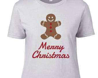 Women - Merry Christmas Gingerbread Men Cookie Holiday Gift white t-shirt