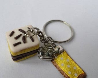 Neapolitan polymer clay keychain