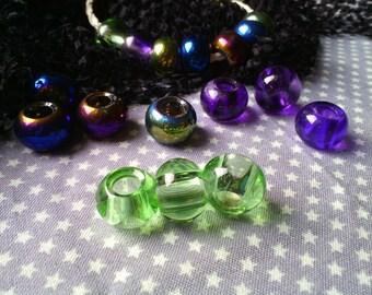 set of 3 European beads / glass / bottle green / transparent / 15 x 10 mm drilled 6 mm