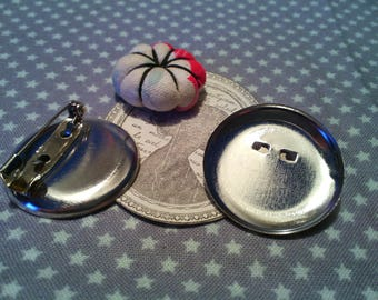 Set of 2 silver pin holders, 30 mm round base.