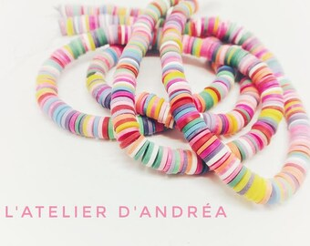 380 vintage candy beads / strand 40 cm / approx 380 beads multicolor 6 x 1 mm/2 mm hole / pastel colors.