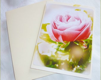 """Double """"Shabby chic"""" made handmade from a romantic photo of a rose from Celine Photo Art card"""