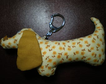 Keyring fabric patchwork dog Dachshund