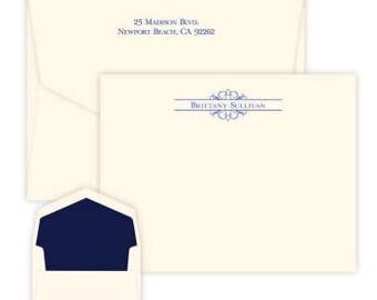 Personalized Arabesque Flat Correspondence Card