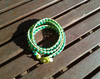 Chan Luu bracelet with pearls glass shades green/yellow