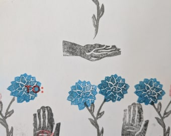 Linocut abstract hand and flower sticker (1of1)