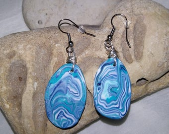 blue lagoon oval flat Charliecrea earrings