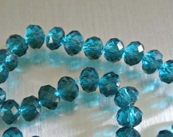 Set of 20 beads (L) rondelles, 8 x 6 mm, faceted glass translucent teal blue Peacock or peacock, hole: 1 mm approx