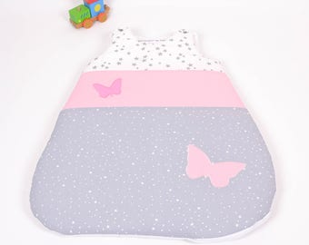 Sleeping bag sleeping bag 0-6 months handmade rain of stars, grey, white and pink @lacouturebytitia Butterfly