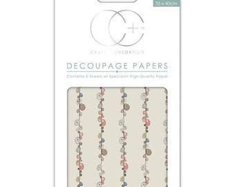 Paper patch (3 sheets) grey pebbles - CCDECP024