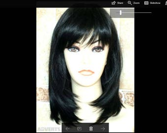 30% Human Hair  Medium Length Black Wig, Brand New still tag price RRP USD 229 Free Worldwide Shipping with Tracking Number