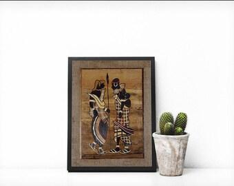African Tribal Fiber Art, Fiber Art, African Maasai Family Art
