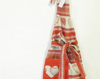 Fancy fabric apron with hearts