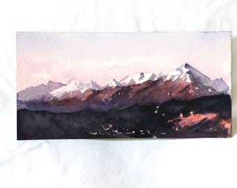 Rocky Mountain Sunset Watercolor Print
