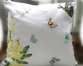 Leaves Throw Pillow Cover, White canvas Green  Leaves, yellow flower Embroidered Pillow Case, Floral Cushion Cover, Botanical Pillow