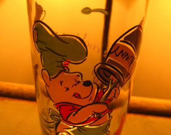 Vintage Set of 3 Collectible Glasses with Pooh/ Piglet/ and Eeyore/ 6 inches tall/ Disney Collectibles/ Winnie the Pooh Collectibles