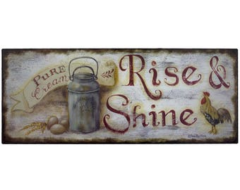 Rise And Shine Rustic Metal Sign Vintage Farmhouse Kitchen Wall Art Decor