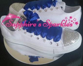Hearts Royal Blue Wedding Shoes Customised Bling Chucks Bride Royal Blue Mono Converse
