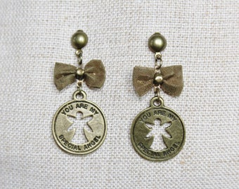Earrings Angel earrings and bow Bronze (drilled)