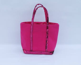 Small bag in Fuchsia cotton with sequins