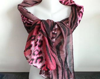 Scarf shawl pink Burgundy Zebra leopard