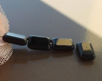 Czech glass beads, bead matte black, black glass bead, rectangle glass bead, black glass rectangle bead.