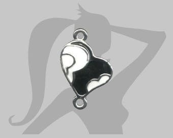 20mm black and white enamel heart connector