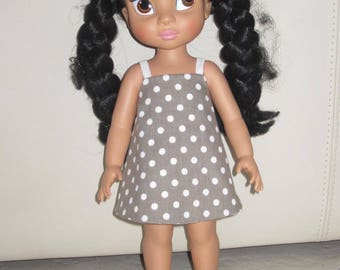 Reversible - taupe and white - polka dots and stars animator doll dress
