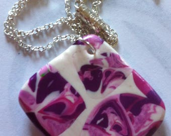 Diamond variation of pink polymer clay necklace