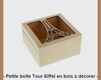 Wooden blank - Eiffel Tower box 11 x 11 x 6 cm.
