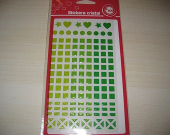 Board of 147 stickers green mosaic Crystal