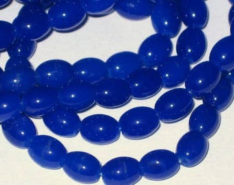 Set of 20 blue oval glass beads King 7x6mm