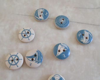 set of 8 nautical themed wood buttons
