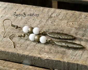 My small white feather earrings