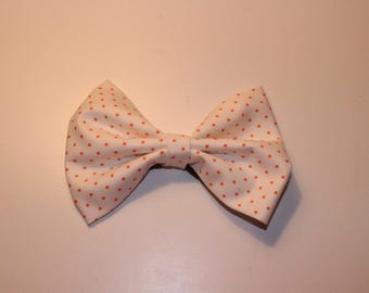 White and Orange dotted bow