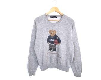 Polo Bear 90s Ralph Lauren Polo Bear Usa Spellout Pullover Jumper Sweatshirt