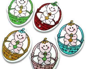 5 buttons in a basket scrapbooking baby