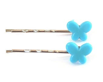 2 hair pins Bobby child or adult blue butterfly ° °